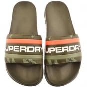 Product Image for Superdry Retro Colour Block Logo Sliders Khaki