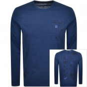 Product Image for Edwin Crew Neck Logo Long Sleeve T Shirt Navy