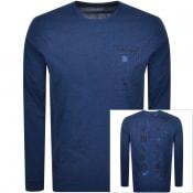 Product Image for Edwin Crew Neck Logo Long Sleeve T Shirt Navy