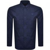 Product Image for Fred Perry Tonal Tartan Long Sleeved Shirt Blue
