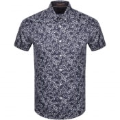 Product Image for Ted Baker Floral Print Short Sleeved Shirt Navy