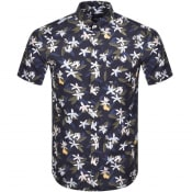 Product Image for Gant Lemon Flower Print Short Sleeve Shirt Blue