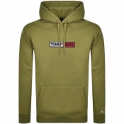 Product Image for Tommy Jeans Embroidered Box Logo Hoodie Khaki