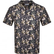 Product Image for Les Deux Latif Flower Short Sleeved Shirt Navy