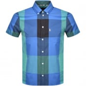 Product Image for Aquascutum Henlake Check Short Sleeve Shirt Blue