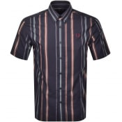 Product Image for Fred Perry Striped Short Sleeved Shirt Navy