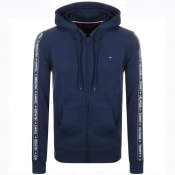 Product Image for Tommy Hilfiger Lounge Taped Logo Zip Hoodie Navy