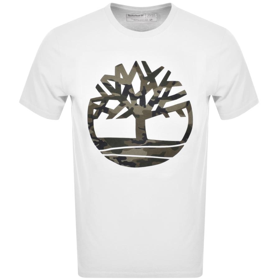 Círculo de rodamiento vertical Miniatura  Timberland Camouflage Tree Logo T Shirt White | Mainline Menswear