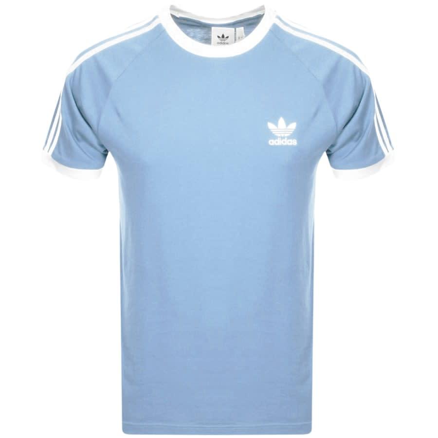Adidas Originals 3 Stripe T Shirt Blue