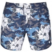 Product Image for Emporio Armani Camouflage Floral Swim Shorts Blue