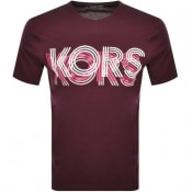 Product Image for Michael Kors Optical Logo T Shirt Burgundy