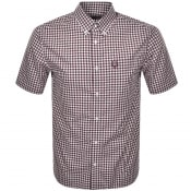Product Image for Fred Perry Gingham Short Sleeved Shirt Burgundy