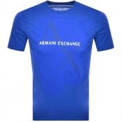 Product Image for Armani Exchange Crew Neck Logo T Shirt Blue