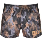 Product Image for BOSS Camoushark Swim Shorts Brown