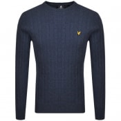 Product Image for Lyle And Scott Crew Neck Cable Jumper Navy