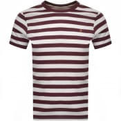 Product Image for Farah Vintage Belgrove Stripe T Shirt Burgundy