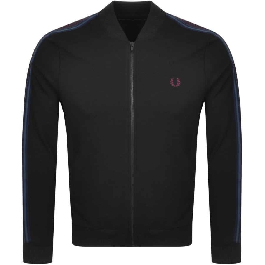 Fred Perry Taped Bomber Track Jacket Black