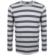 Product Image for Edwin Long Sleeve Striped Terry T Shirt Grey