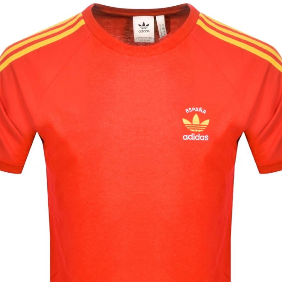 Inesperado Bourgeon montaje  Adidas Originals 3 Stripe Espana T Shirt Red   Mainline Menswear