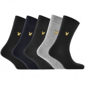 Product Image for Lyle And Scott Five Pack Logo Socks Black