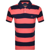 Product Image for Gant Barstripe Rugger Polo T Shirt Pink