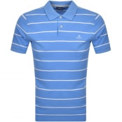 Product Image for Gant Breton Stripe Rugger Polo T Shirt Blue