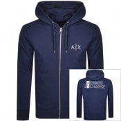 Product Image for Armani Exchange Full Zip Logo Hoodie Navy