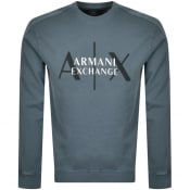 Product Image for Armani Exchange Crew Neck Logo Sweatshirt Blue