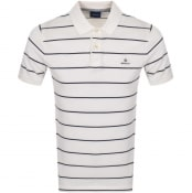 Product Image for Gant Breton Stripe Rugger Polo T Shirt Off White