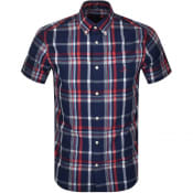 Product Image for Gant Washed Indigo Short Sleeved Shirt Navy