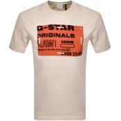 Product Image for G Star Raw Flock Badge Logo T Shirt Beige