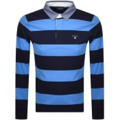 Product Image for Gant Barstripe Long Sleeve Polo T Shirt Blue