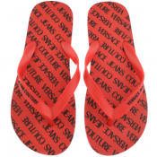 Product Image for Versace Jeans Couture Logo Flip Flops Red