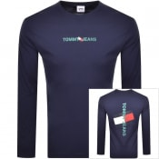 Product Image for Tommy Jeans Vertical Logo Long Sleeve T Shirt Navy