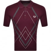 Product Image for Fred Perry Abstract Argyle Knitted Shirt Burgundy