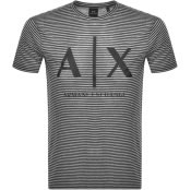 Product Image for Armani Exchange Striped Crew Neck Logo T Shirt Bla