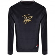Product Image for Tommy Hilfiger Velour Logo Sweatshirt Navy