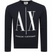 Product Image for Armani Exchange Crew Neck Logo Sweatshirt Navy