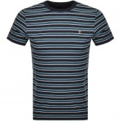 Product Image for Farah Vintage Canyon Stripe T Shirt Navy