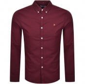 Product Image for Farah Vintage Brewer Long Sleeve Shirt Burgundy