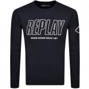 Product Image for Replay Crew Neck Logo Sweatshirt Navy
