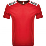 Product Image for Moschino Taped Logo Short Sleeved T Shirt Red