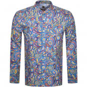Product Image for Pretty Green Paisley Long Sleeved Shirt Blue