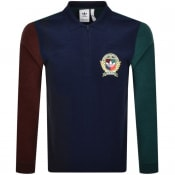 Product Image for adidas C Crest Long Sleeve Polo T Shirt Navy