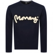 Product Image for Money Chenille Logo Crew Neck Sweatshirt Navy