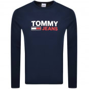 Product Image for Tommy Jeans Logo Long Sleeve T Shirt Navy