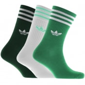 Product Image for adidas Originals Three Pack Crew Socks Green
