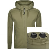 Product Image for CP Company Full Zip Logo Hoodie Khaki