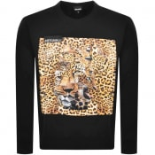 Product Image for Just Cavalli Crew Neck Leopard Sweatshirt Black