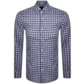 Product Image for BOSS Jason Check Long Sleeved Shirt Navy